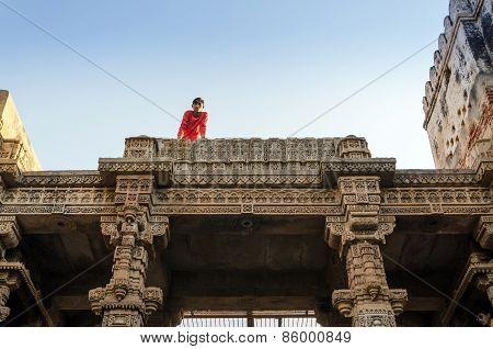 Ahmedabad, India - December 25, 2014: Indian People Visit Adalaj Stepwell In Ahmedabad