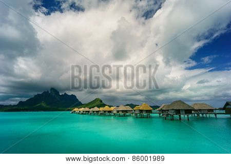 Bora Bora under dramatic clouds