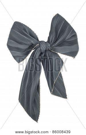 Silk Scarf. Black Silk Scarf Folded Like Bowknot