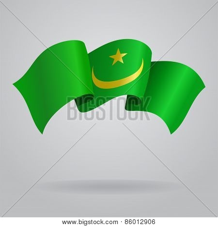 Mauritanian waving Flag. Vector illustration