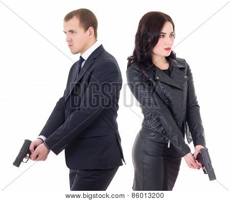 man and woman special agents with guns isolated on white background poster