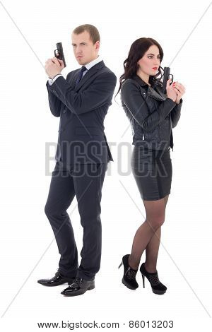 Full Length Portrait Of Man And Woman Special Agents With Guns Isolated On White