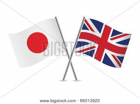 Japanese and British flags. Vector illustration.