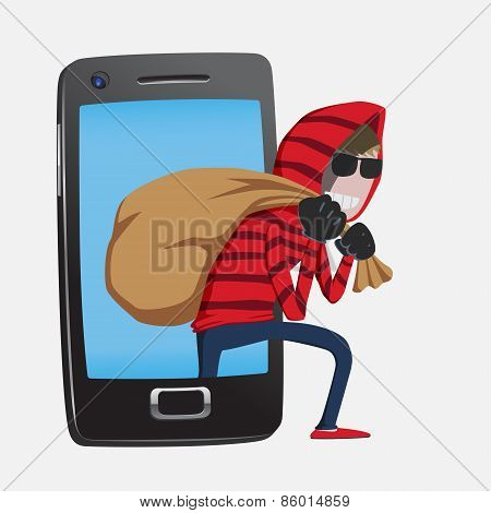Hacker Step Out Of Smart Phone