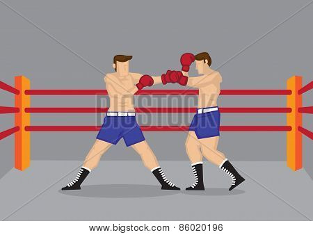 Muscular Boxers Fighting in Boxing Ring Vector Illustration