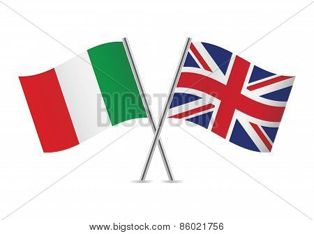 Italian and British flags. Vector illustration.