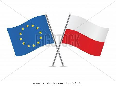 European Union and Polish flags. Vector illustration.