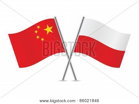 Chinese and Polish flags. Vector illustration.