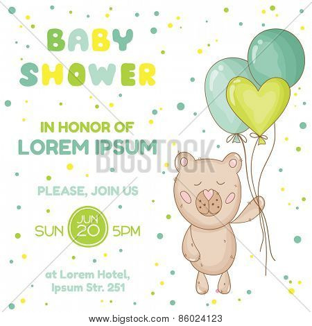 Baby Shower or Arrival Card - with Baby Bear - in vector poster