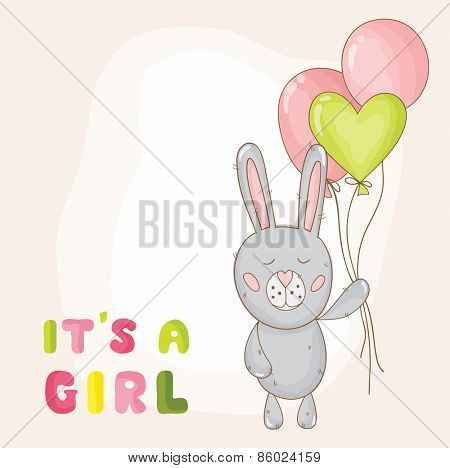 Cute Baby Bunny Background - Baby Shower or Arrival Card - in vector