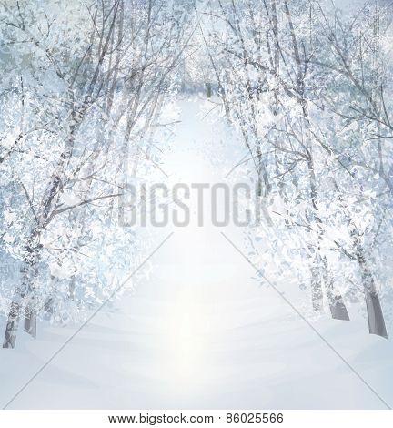 Vector winter snow landscape.