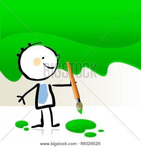 Little boy painting with green color, cute smiling artist kid. Happy kids doodle style sketchy vector illustration.