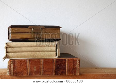 heap of antique books
