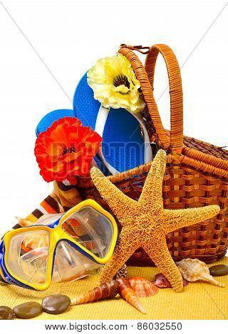 Wicker Basket, Flip-flops, Fishstar, Goggles On The Towel