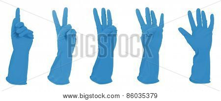 Blue gloves gesturing numbers isolated on white