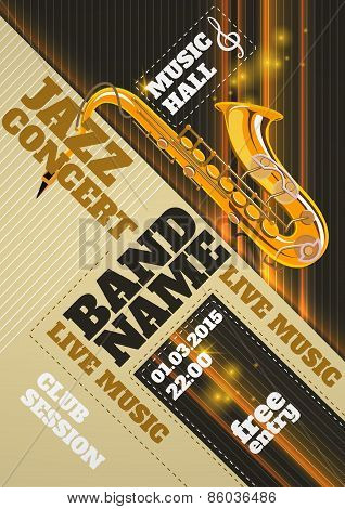 Jazz music concert club invitation poster with saxophone vector illustration poster