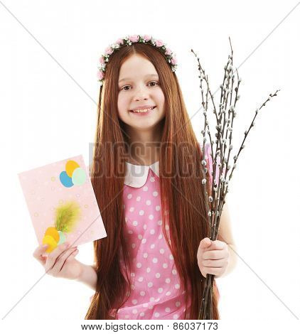 Beautiful little girl with pussy-willow branches and postcard, isolated on white poster