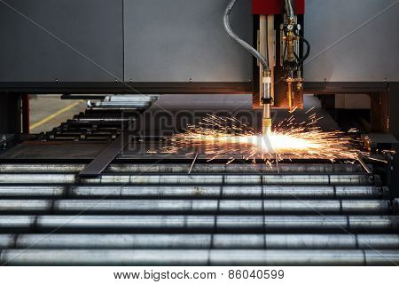 Industrial cnc plasma cutting of metal plate