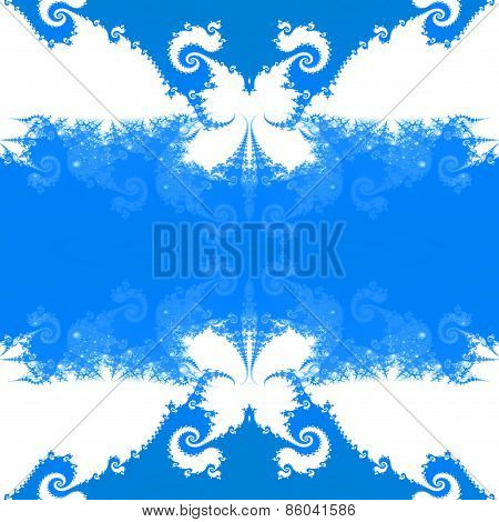Abstract seamless decorative blue fractal mosaic with recognizable silhouettes of butterflies