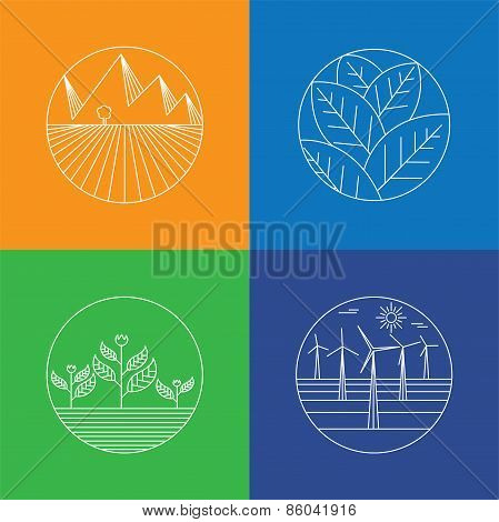 Landscape & Nature Vector Icons - Abstract Logo Templates & Line Icons