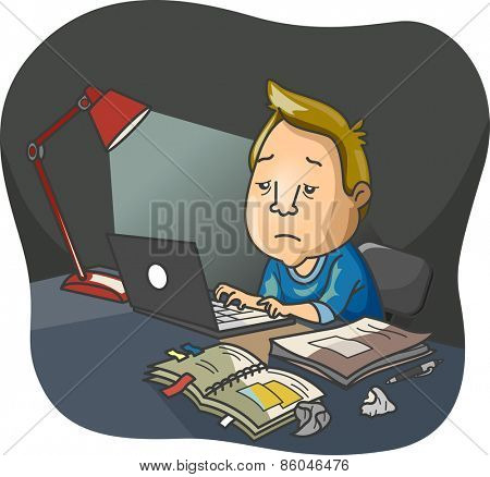 Illustration of a Haggard Looking Man Doing Overnight Work