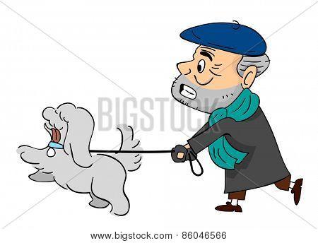 Illustration of a Senior Citizen Walking His Pet Dog