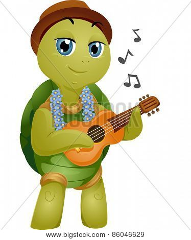 Mascot Illustration of a Turtle Playing the Ukelele