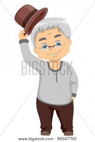 Illustration of a Senior Citizen Tipping His Hat