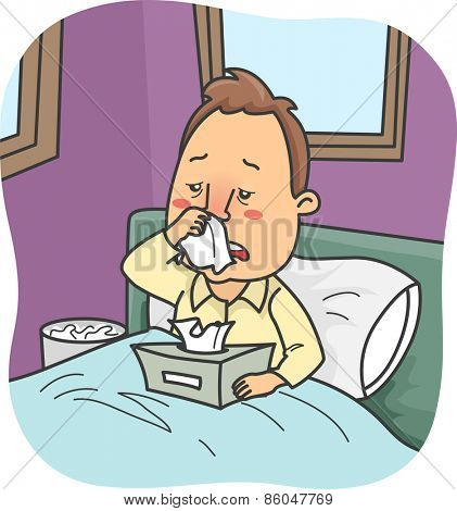 Illustration of a Man Stuck in Bed Due to a Severe Case of Colds