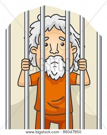 Illustration of a Senior Citizen Still Serving His Sentence in Jail