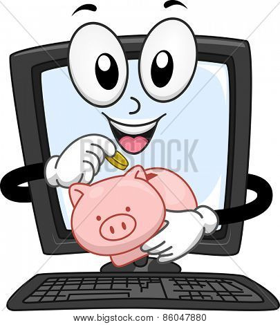 Mascot Illustration of a Computer Monitor Dropping Coins in a Piggy Bank