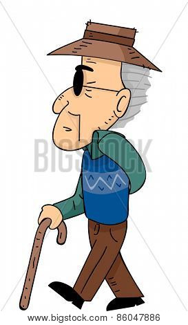 Illustration of a Senior Citizen Walking with the Help of a Cane poster