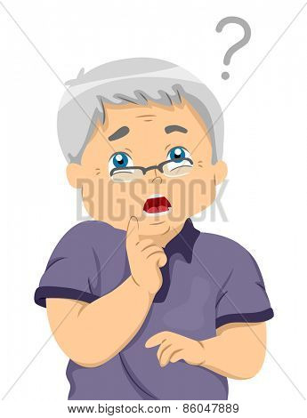 Illustration of a Forgetful Senior Citizen Trying Hard to Remember Something