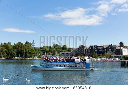 Visitors on pleasure boat Bowness on Windermere Lake District England UK