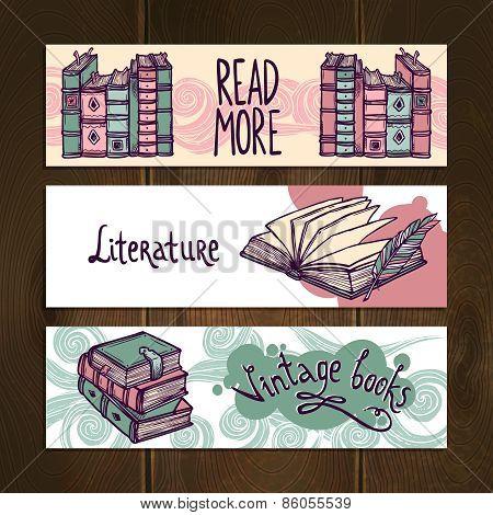 Retro Books Banner Set