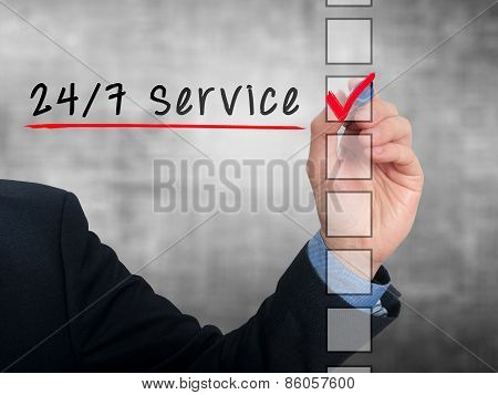 Businessman Checking 24h Service. Checking mark on checklist marker. Isolated on blue background, St