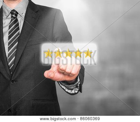 Internet security online business concept businessman pointing five stars security services