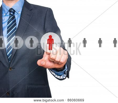 Businessman pressing button on virtual screens. Business, technology and recruitment concept