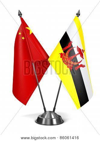 China and Brunei - Miniature Flags.