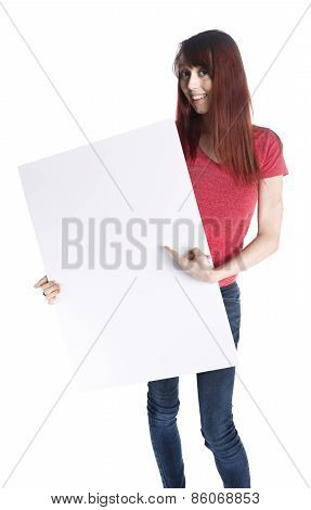 Happy Woman Holding Empty White Card Board