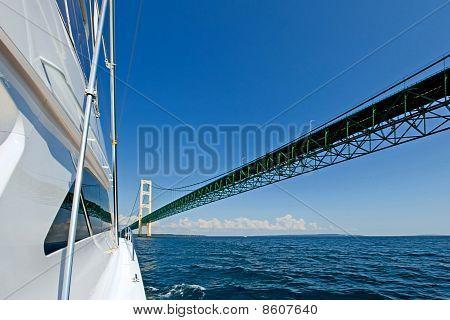 White Yacht against the Mackinac Bridge