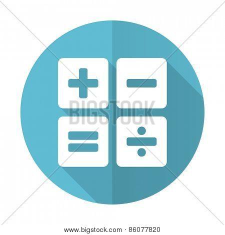 calculator blue flat icon calc sign
