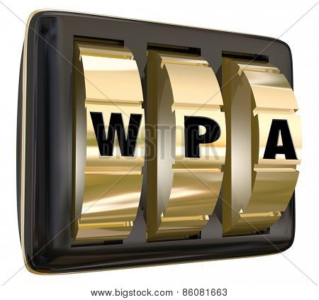 WPA letters on gold lock dials to illustrate network internet access via a protected public system for online usage poster