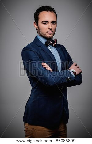 Sharp dressed fashionist wearing jacket and bow tie poster