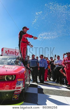 Fontana, CA - Mar 21, 2015:  Kevin Harvick (88) wins the Drive4Clots.com 300 at Auto Club Speedway in Fontana, CA.