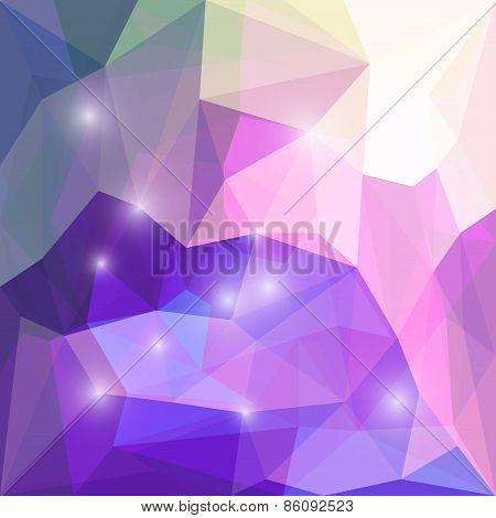Abstract purple and lilac colored polygonal triangular background with glaring lights for use in design for card invitation poster banner placard or billboard cover poster