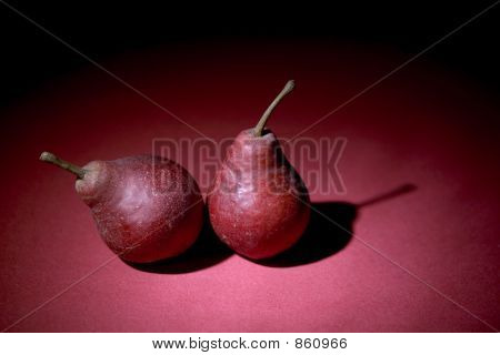 two pears on violet