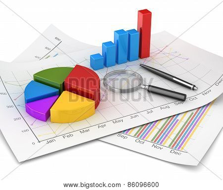Business chart and finance concept pie and bar chart and magnify glass and pen on financial paper. 3d render image and computer generated image. poster