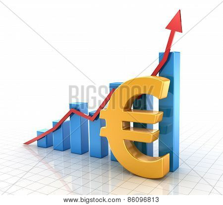 Business Chart With Euro Symbol And Finance Concept