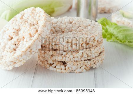 A Stack Of Plain Rice Cakes